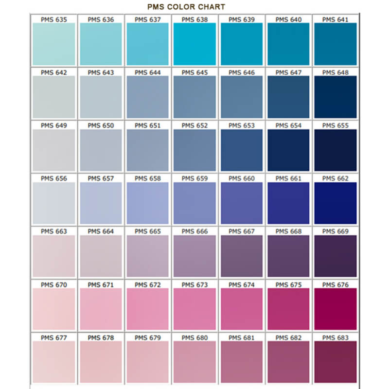 PMS Pantone color reference chart