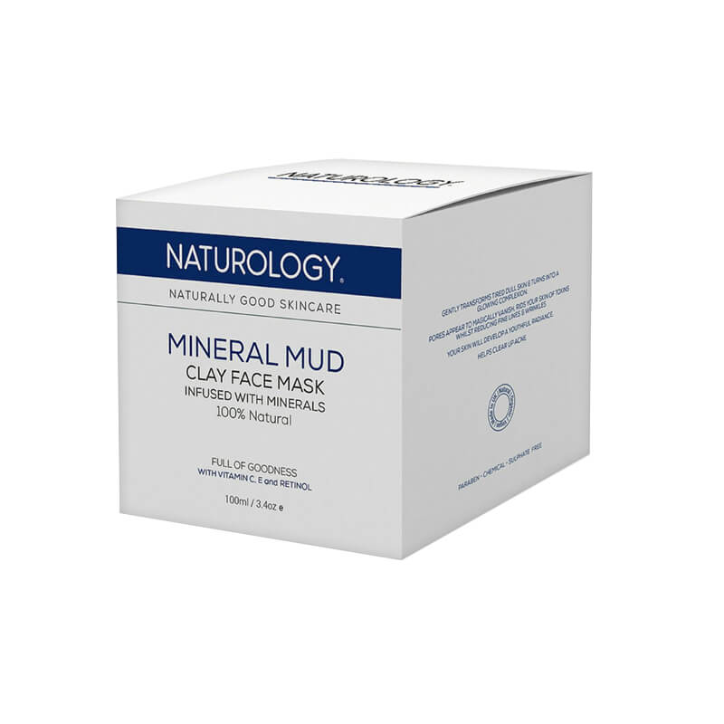 Packaging box for mineral mud mask bottle