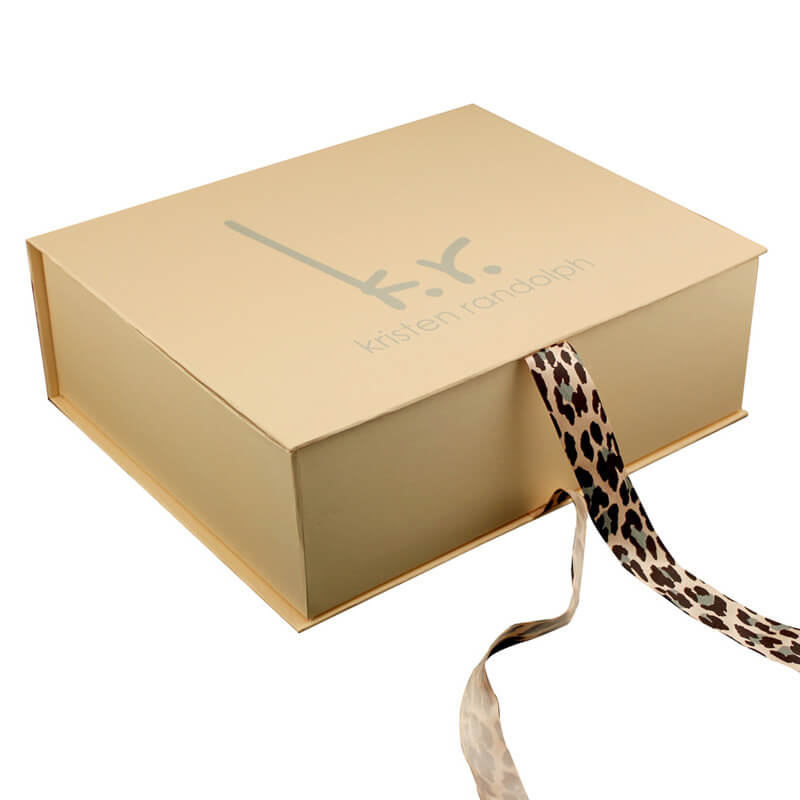 Paper Gift Box with Ribbon Closure