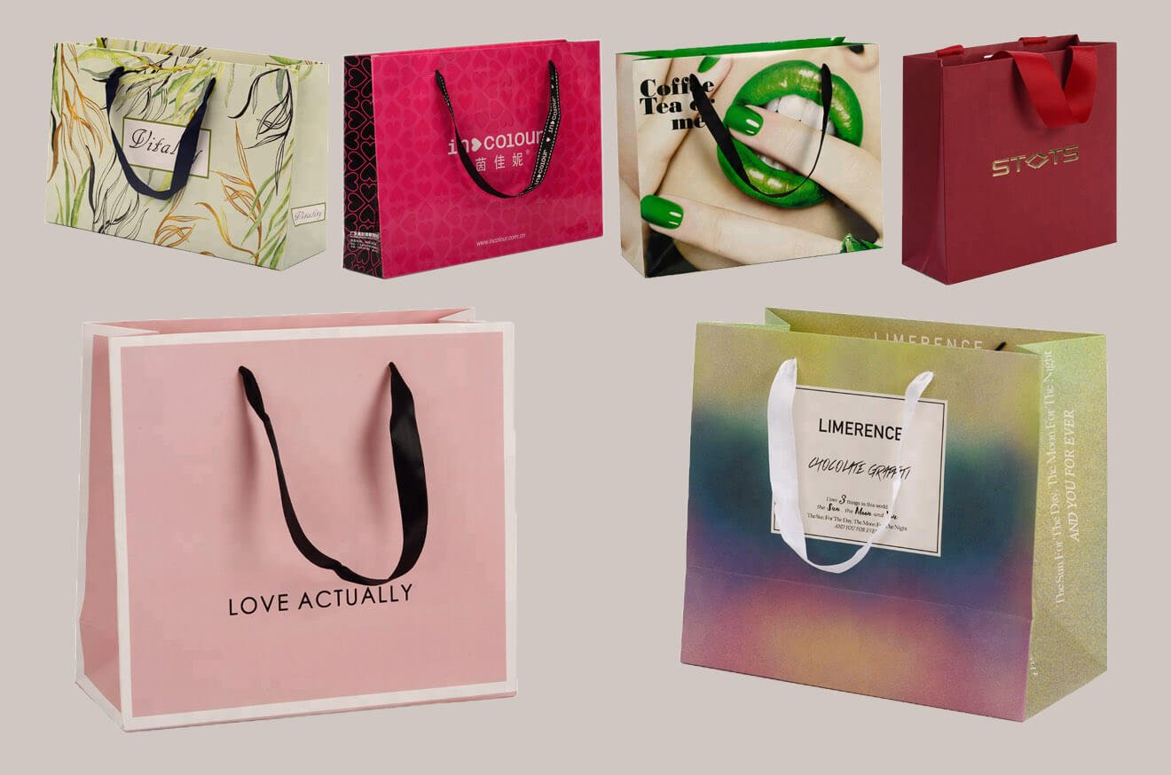 Silk Handle Paper Bags Custom Printed