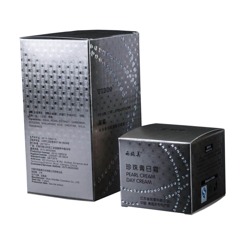Silver Metallic Paper Box for Face Cream