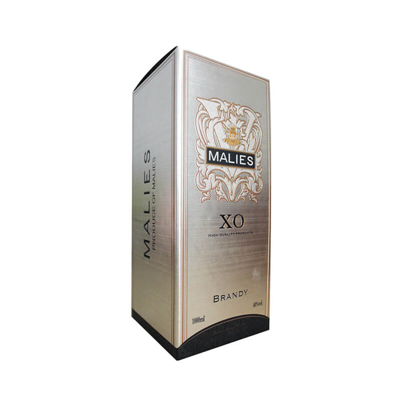 Silver metallic paperboard Brandy packaging