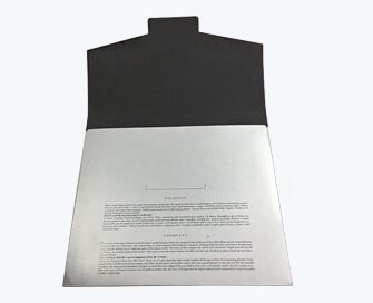 Silver printed paper folder with black printing