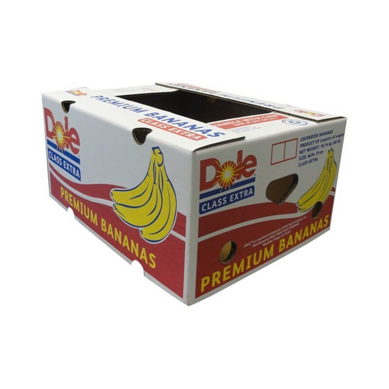 White cardboard packaging box for Banana