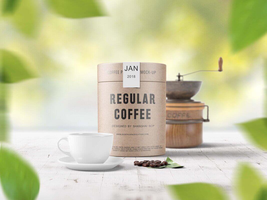 coffee bean packaging tubes mock up