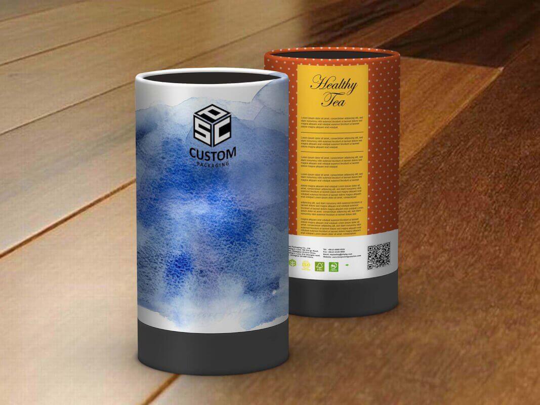 healthy tea cardboard tube packaging mock-up