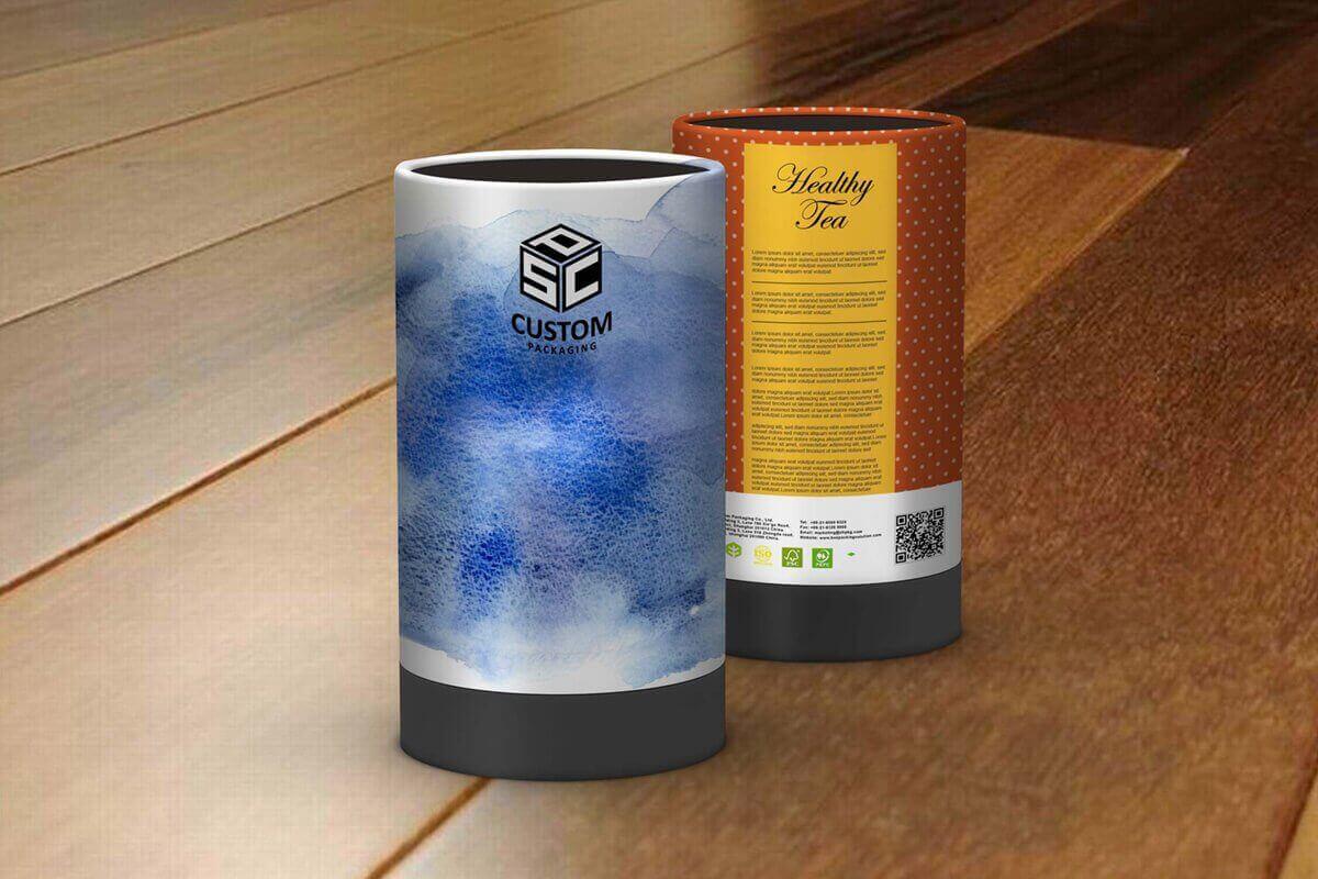 healthy tea cardboard tube packaging mock up