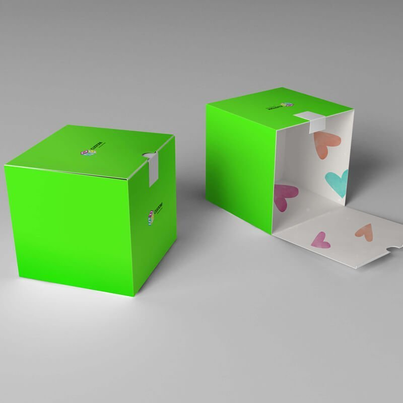 outside and inside printed color box mockup