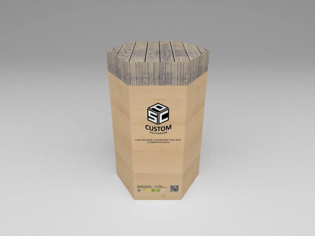 wooden effect cardboard tube box mock-up