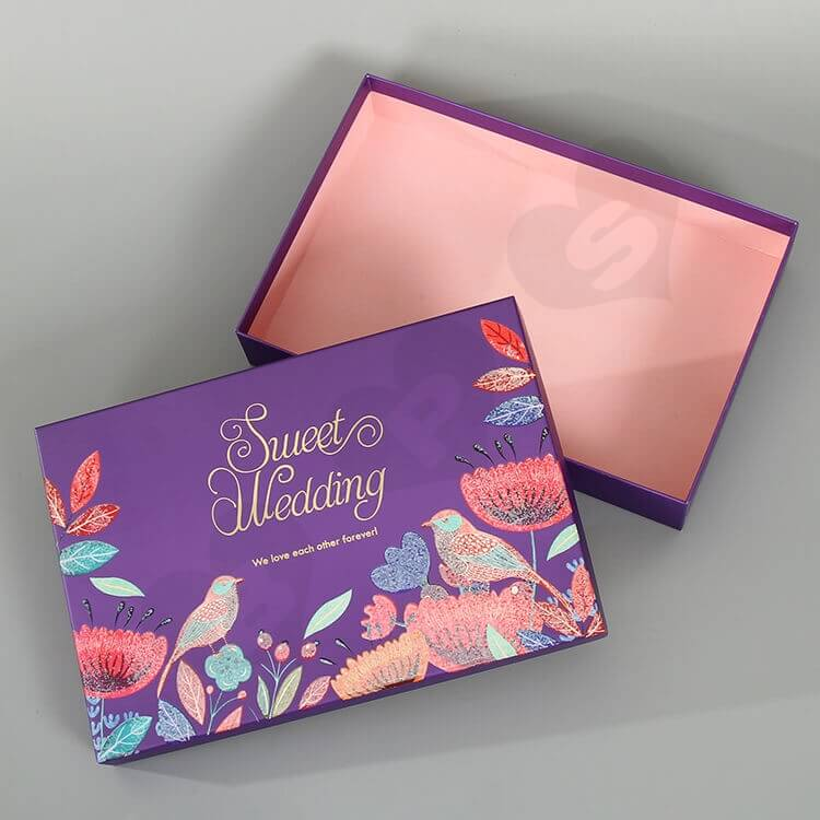 Beautiful Matte Color Gift Box For Wedding side view five