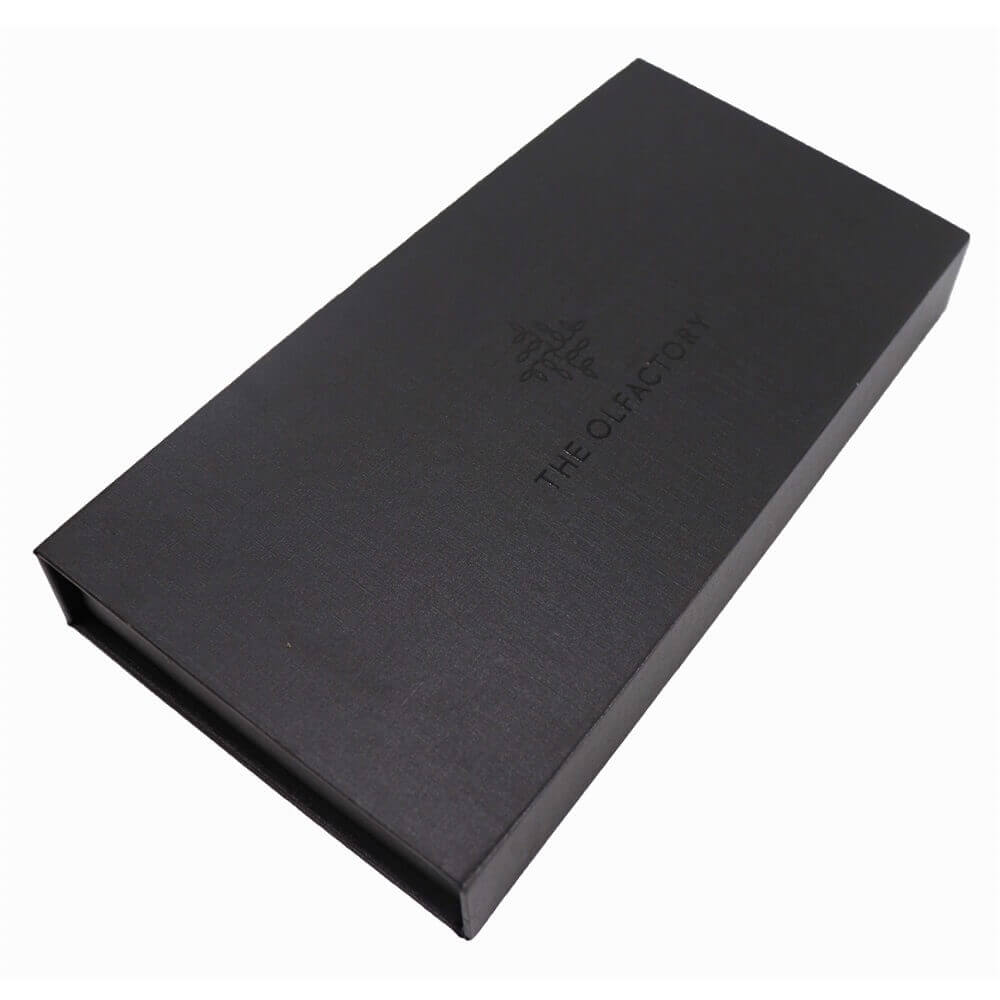 Black Perfume Bottle Packaging Box with Inserts side view one