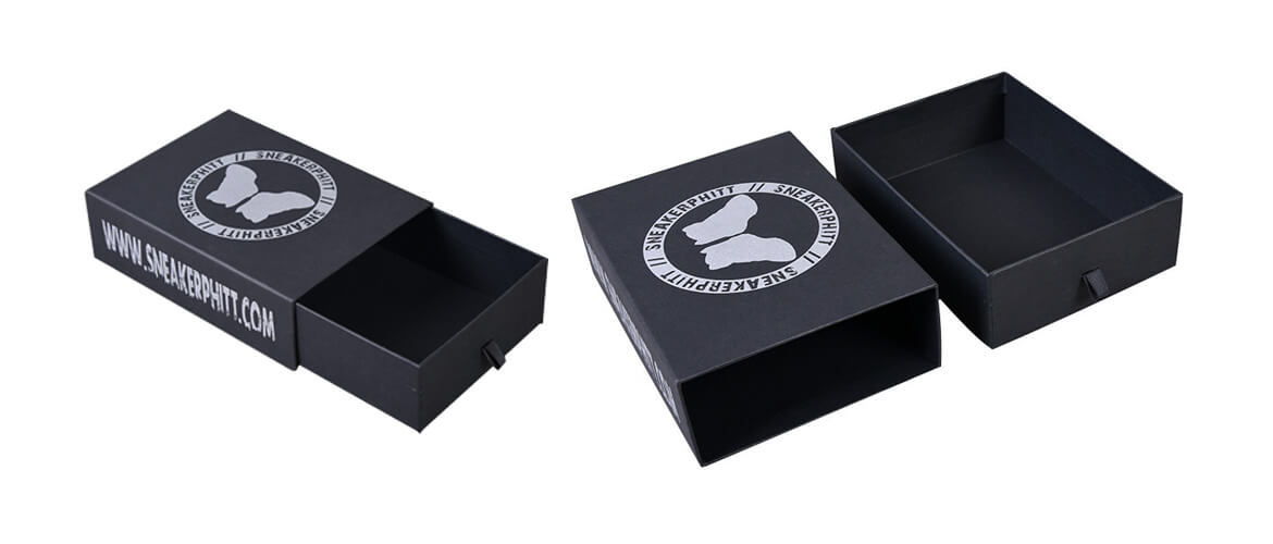 Black rigid drawer style packaging box with XPE foam insert
