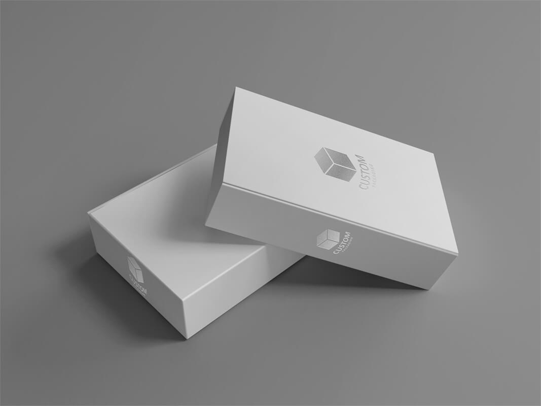 Book Shape Hinged Lid Rigid Box With Silver Stamping Mock Up
