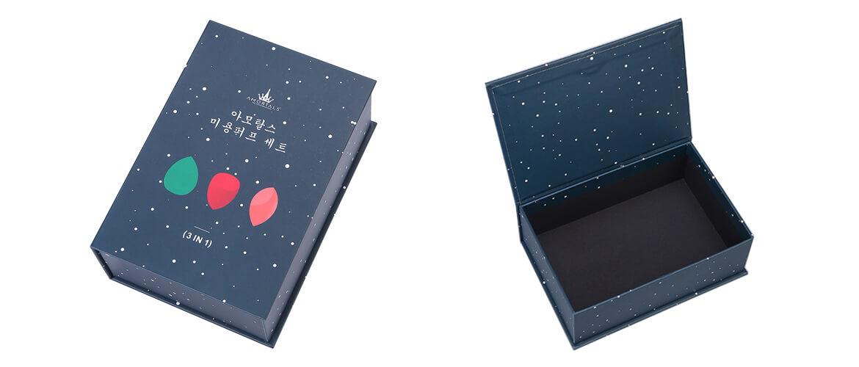 Book Shape Magnetic Closure Box Silver Shiny