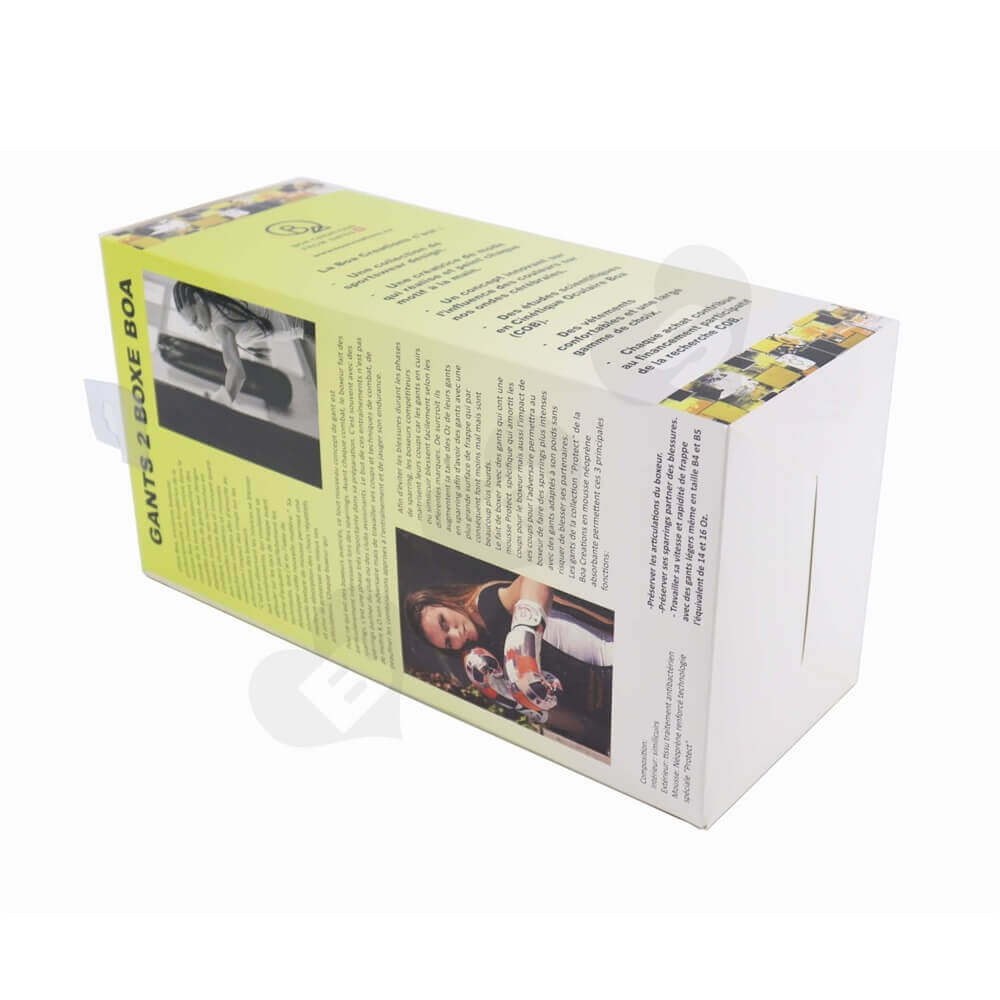 Boxing Gloves Packaging Box Display with Hang Tab side view three