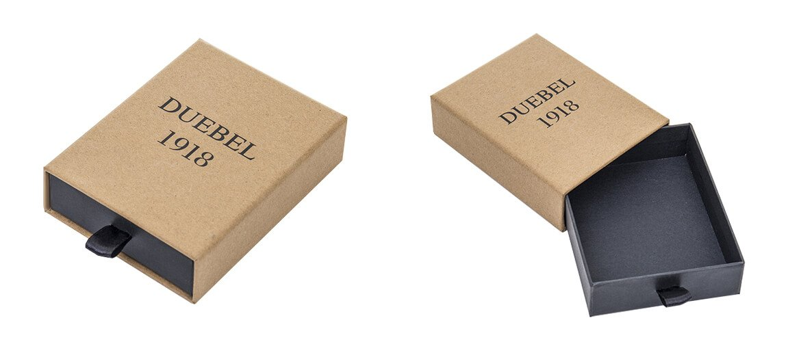 Brown Kraft paper coated rigid drawer box with black color printing
