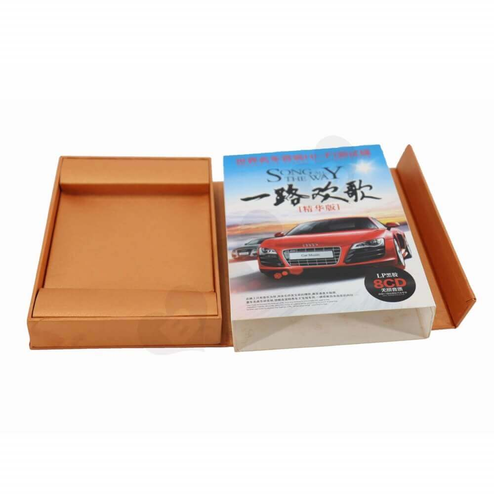 Car CD Present Packaging Box with Magnetic Closure and Printed Sleeve side view two