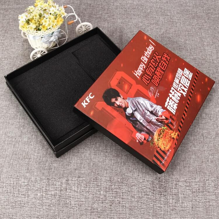 Cardboard Matte Black Rigid Box For Take Away Food side view one