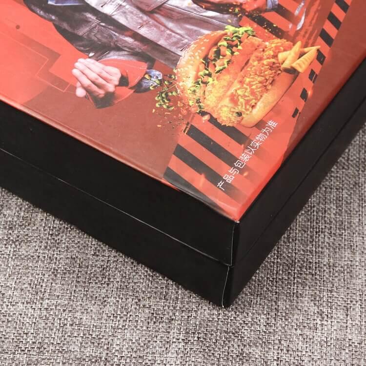 Cardboard Matte Black Rigid Box For Take Away Food side view six