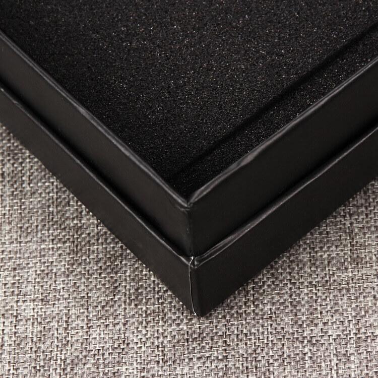 Cardboard Matte Black Rigid Box For Take Away Food side view three