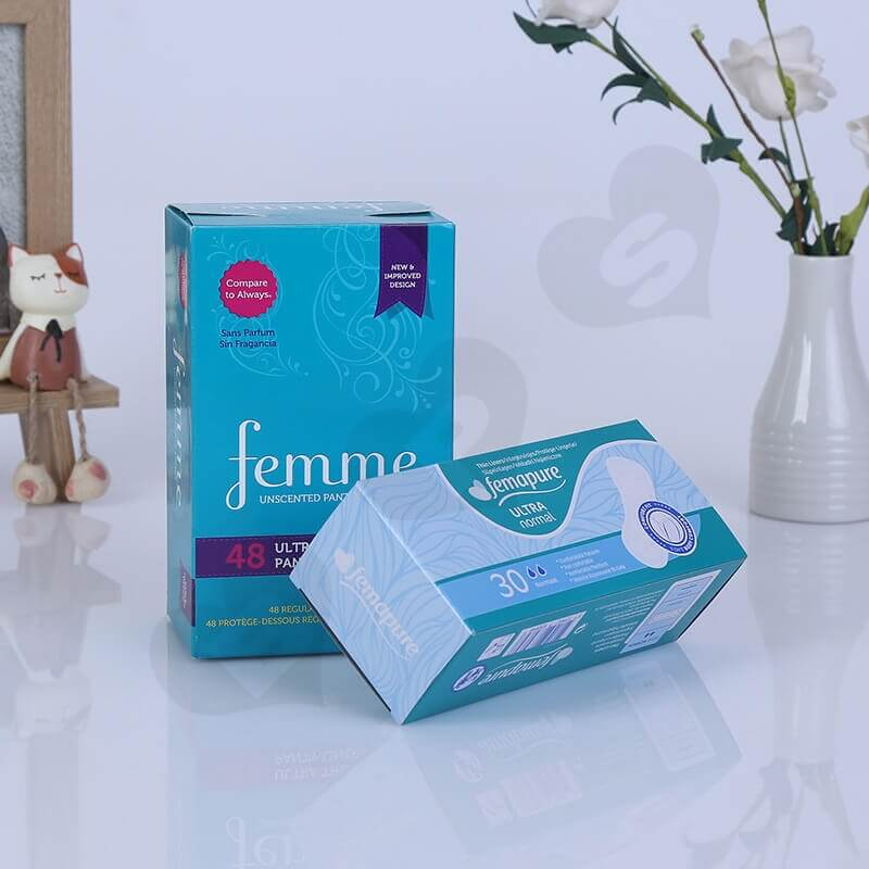 Cardboard Packing Box For Sanitary Napkins side view one