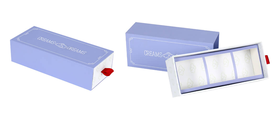 Cardboard paper drawer style packaging boxes with silver card insert
