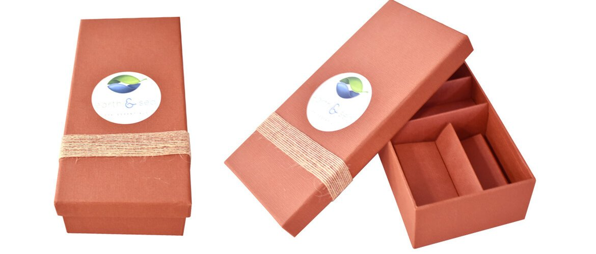Cardboard top and bottom box with paper insert for handmade soap