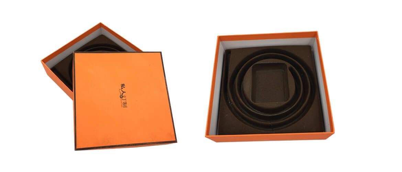 Classic orange color rigid telescope gift box for belt packing
