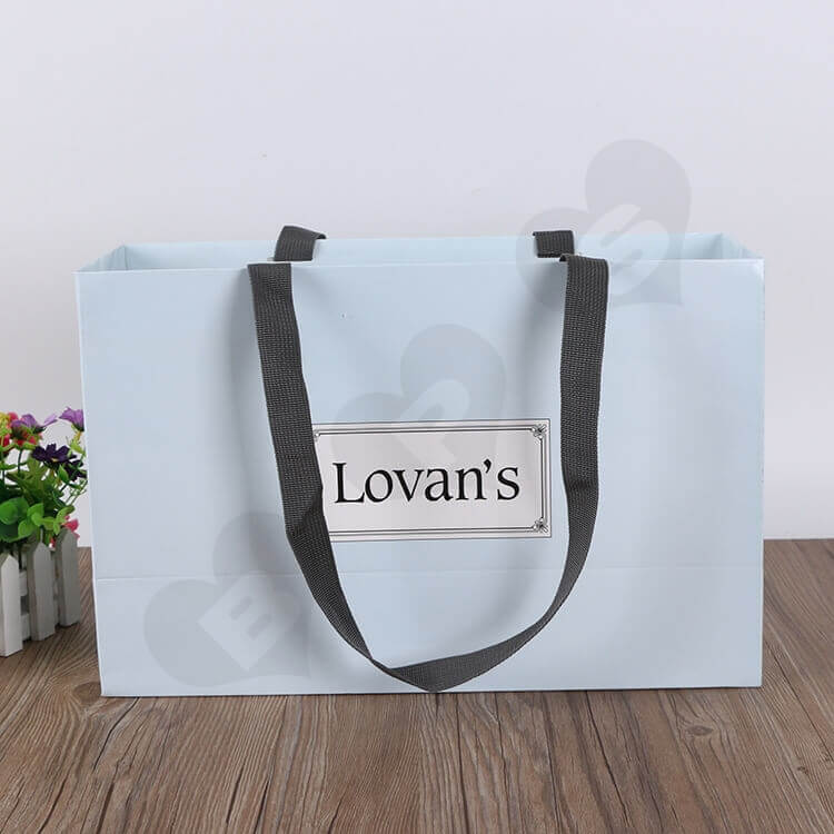 Color Printed Cardboard Shopping Bag For Shoe side view three
