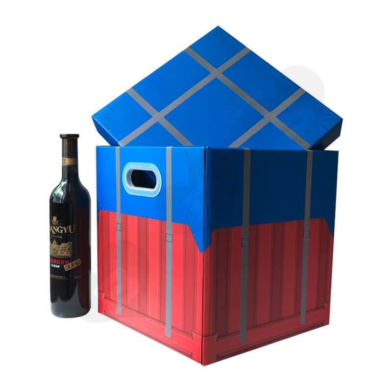 Color Printed Corrugated Box PUBG Air Drop package For Wine side view three