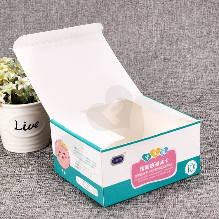 Color Printed White Cardboard Box For Ovulation Test Card side view four