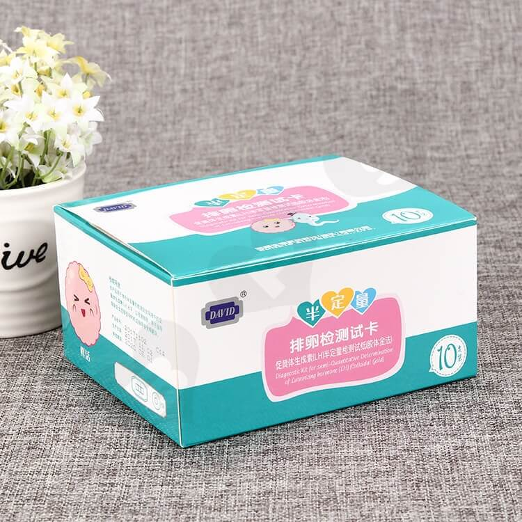 Color Printed White Cardboard Box For Ovulation Test Card side view one