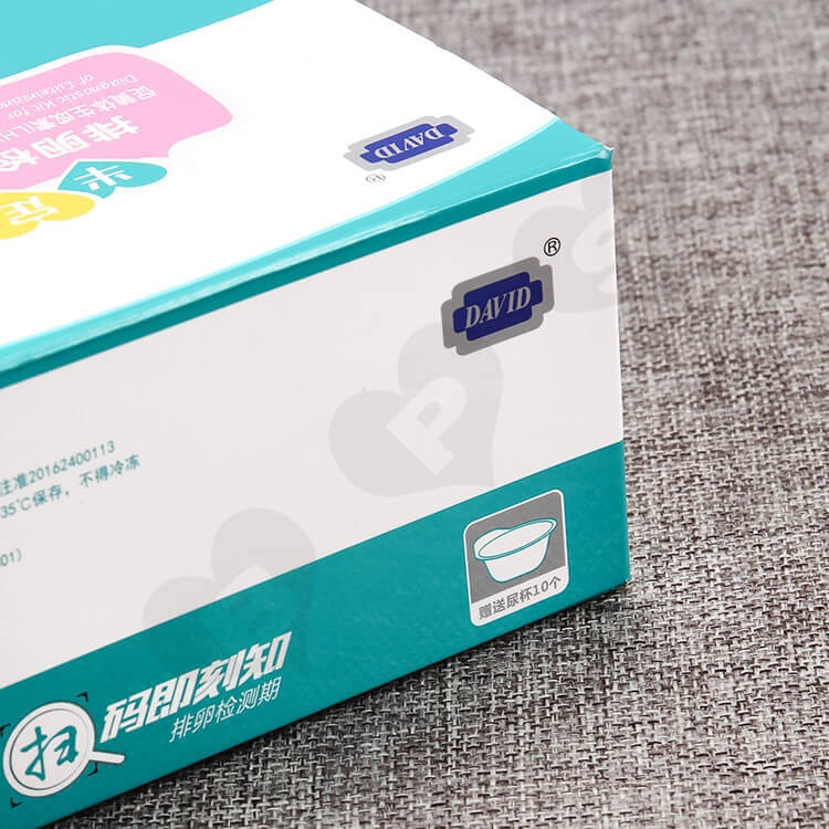 Color Printed White Cardboard Box For Ovulation Test Card side view three