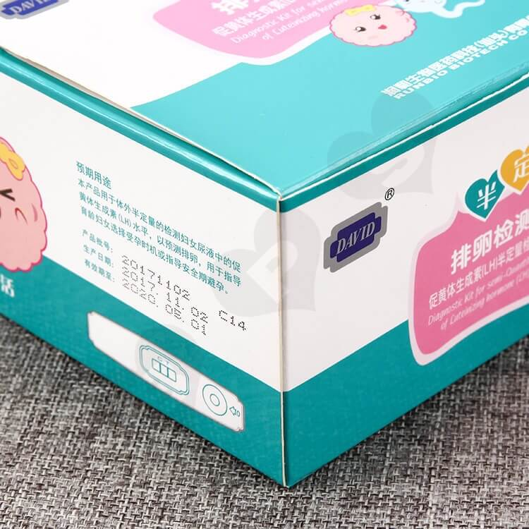 Color Printed White Cardboard Box For Ovulation Test Card side view two