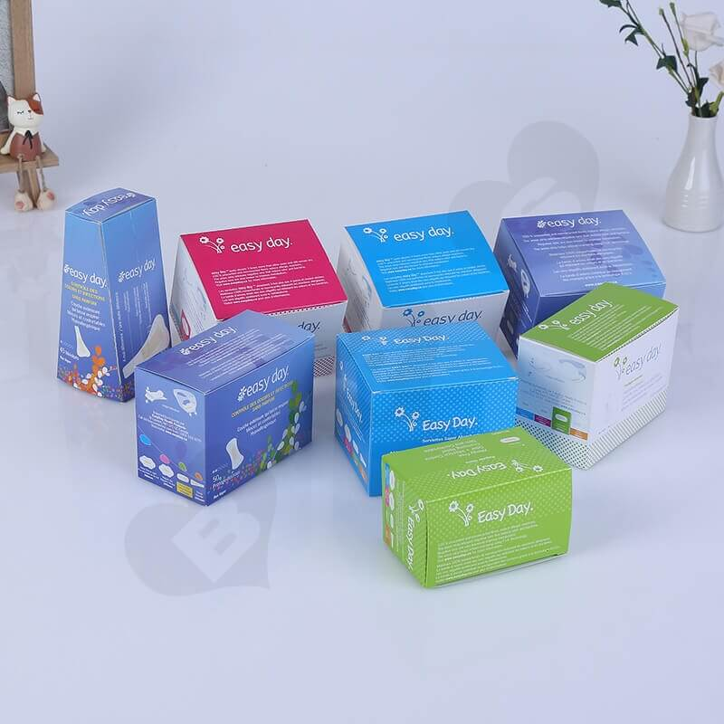 Color Printing Retail Box For Sanitary Napkins side view one