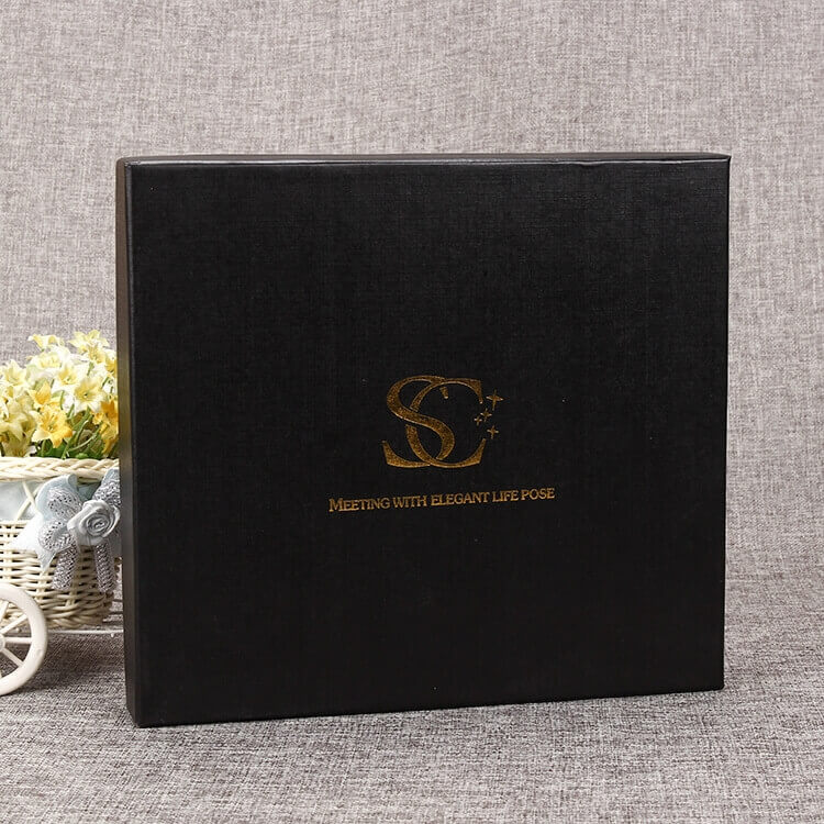 Custom Black Gift Box With Gold Foil Stamping side view five