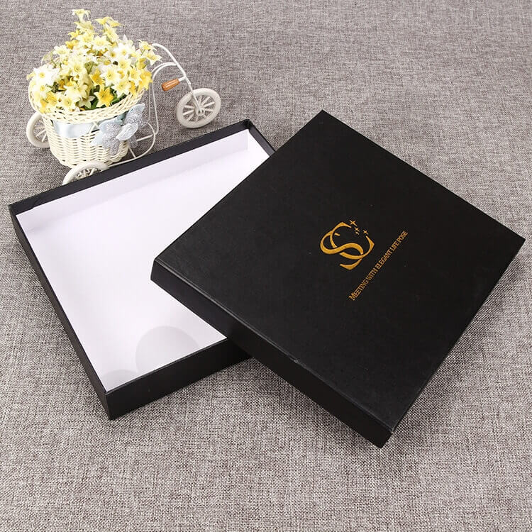 Custom Black Gift Box With Gold Foil Stamping side view one