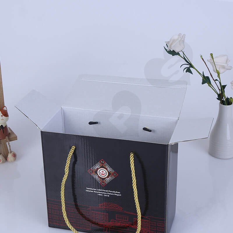 Custom Gift Packaging Box With Nylon Handle side view four