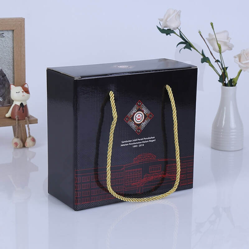 Custom Gift Packaging Box With Nylon Handle side view one
