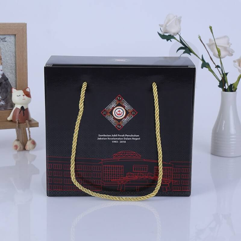 Custom Gift Packaging Box With Nylon Handle side view three