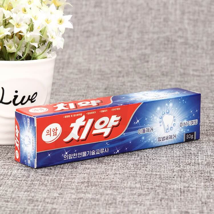 Custom Korean Color Printing Folding Carton Box For Toothpaste side view one