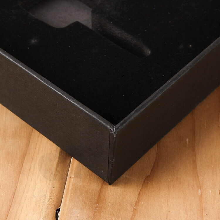 Custom Printed Black Gift Box With EVA Insert side view three
