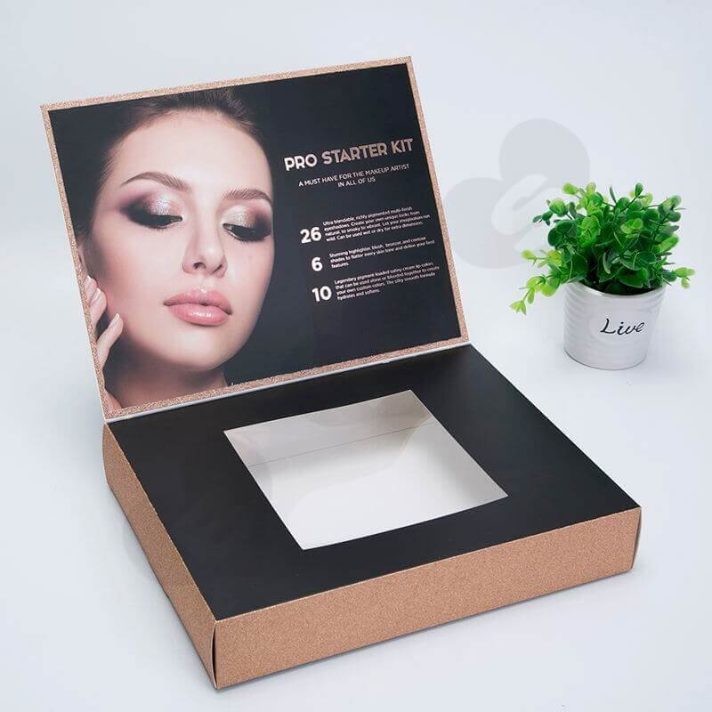 Custom Printed Cardboard Box For Deluxe Makeup Kit side view three