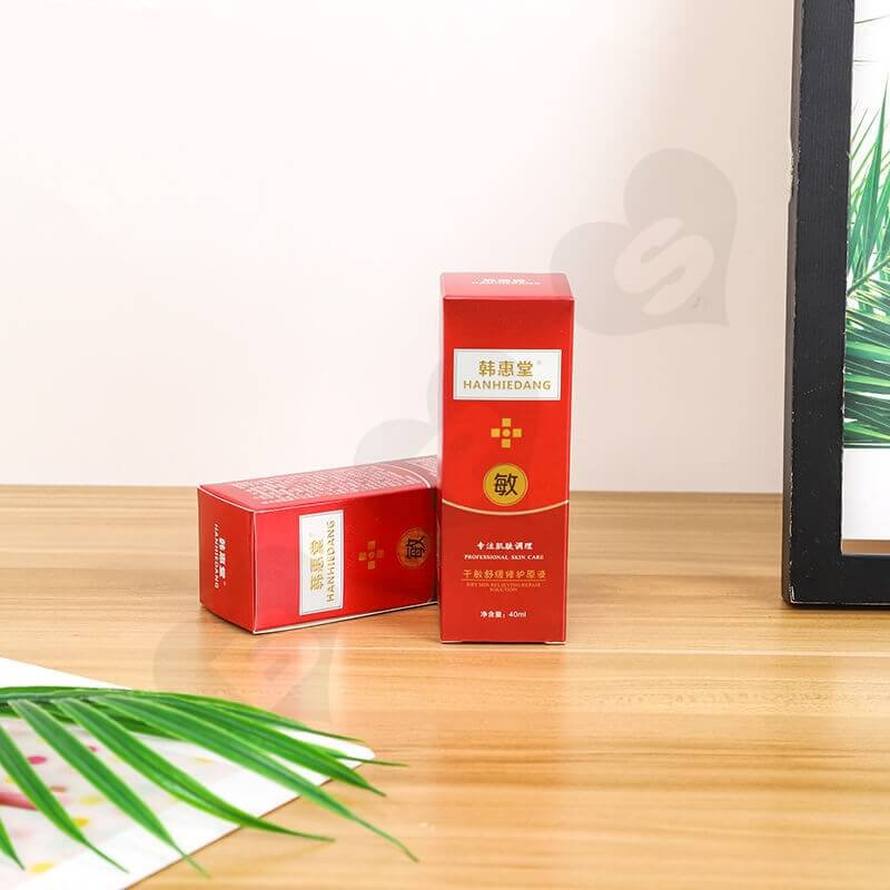 Custom Printed Folding Carton Box For Antiallergic Cream side view one