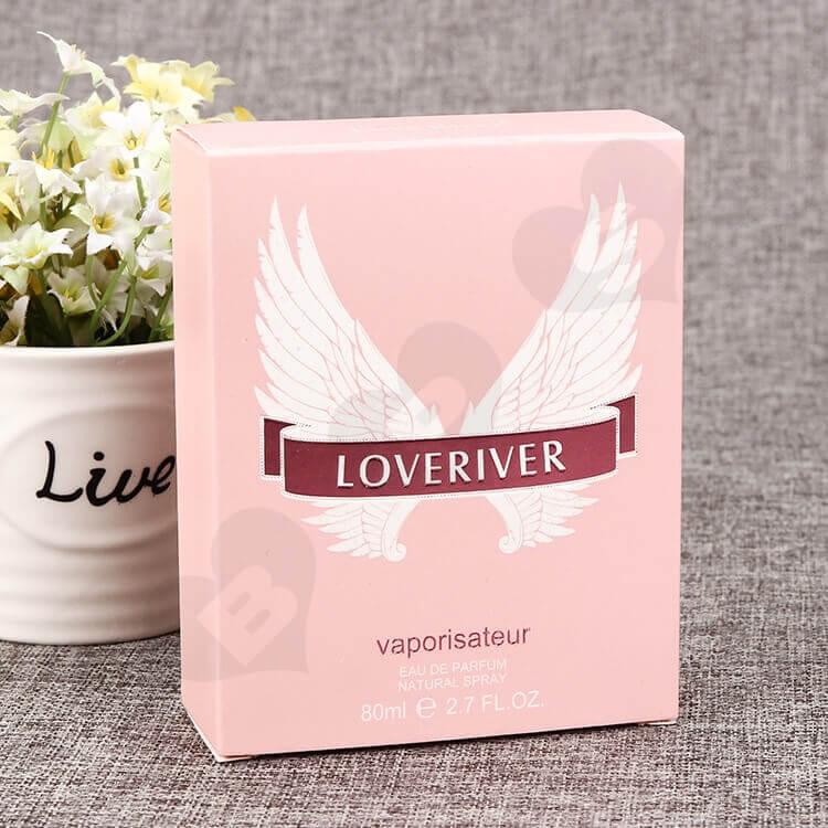 Custom Printed Perfume Box Pink Color side view one
