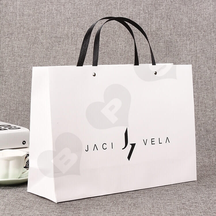 Custom Printed White Cardboard Shopping Bag side view one