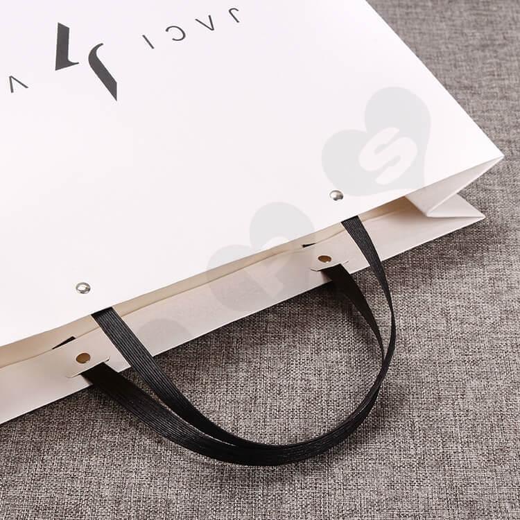 Custom Printed White Cardboard Shopping Bag side view three