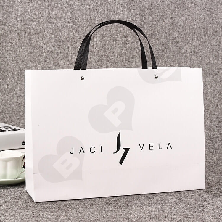 Custom Printed White Cardboard Shopping Bag side view two