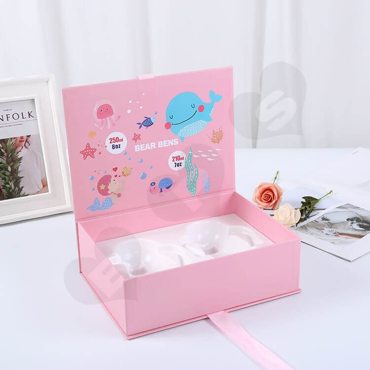 Custom Printing Book Shape Box For Baby Feeding Bottle side view three