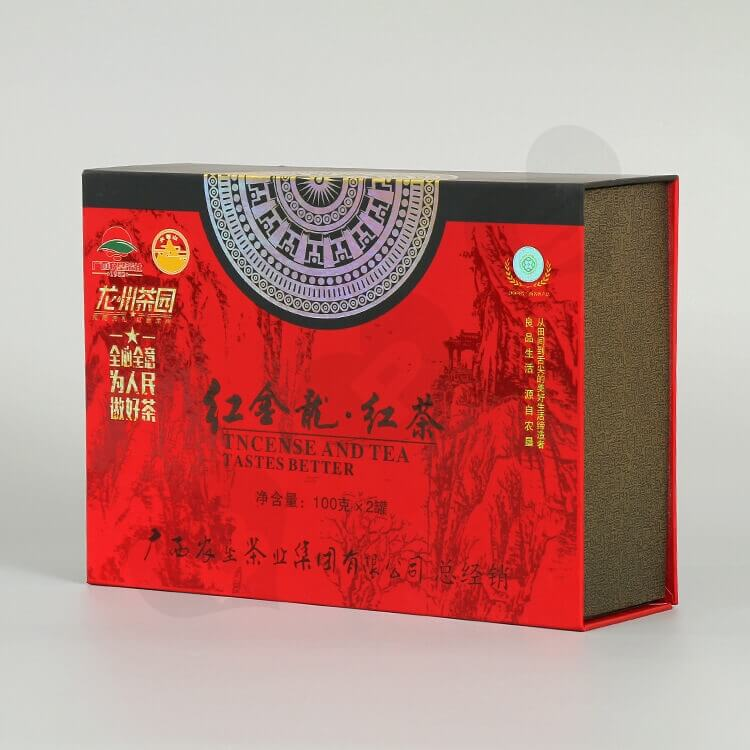 Custom Printing Cardboard Gift Box For Red Tea side view one